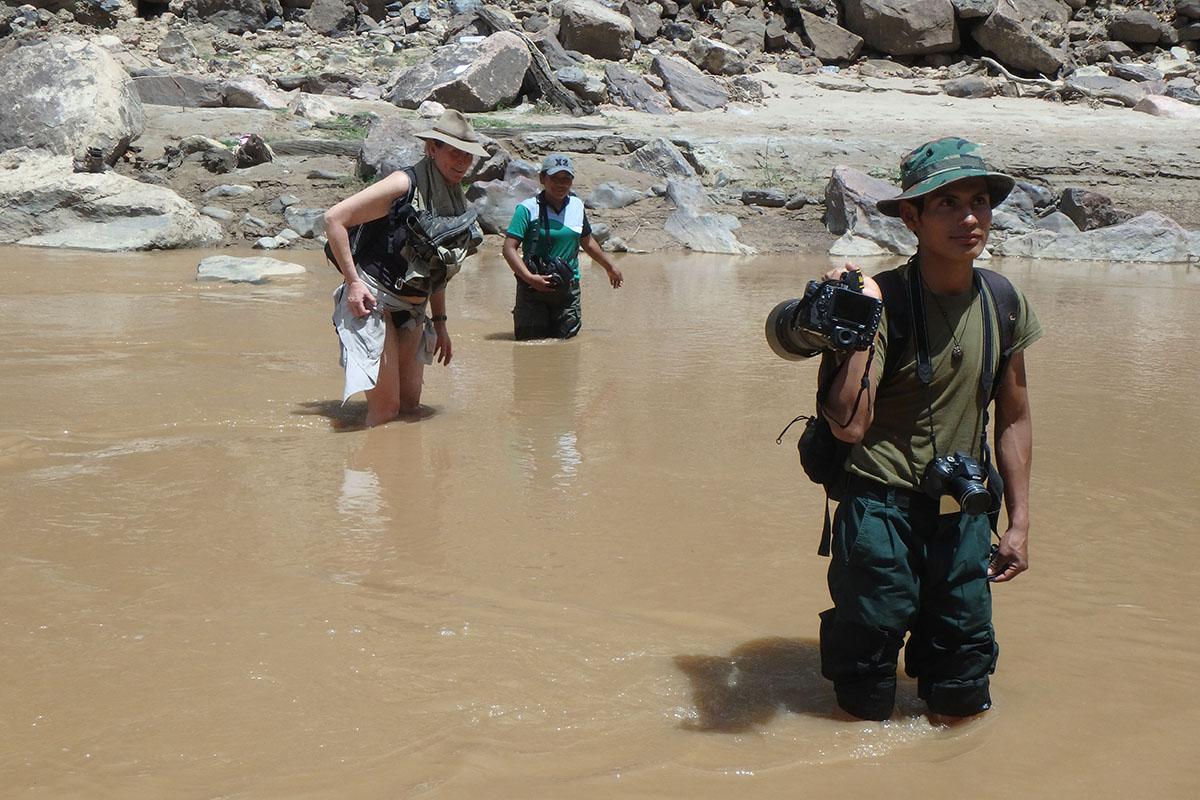 <p>Crossing the river is daily job. Tomas, Rady and Eli, Torotoro National Park (Jalajala canyon, Andes), Bolivia.</p>