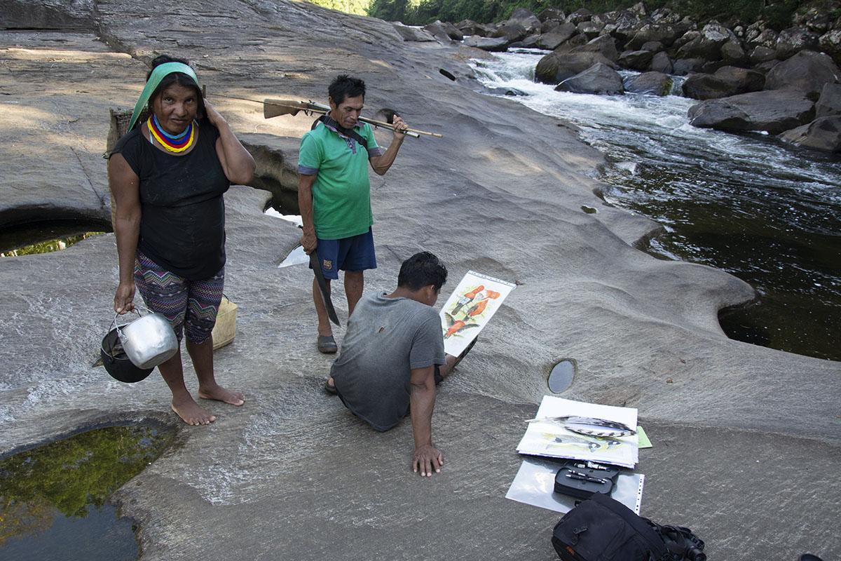 <p>Průvodci Yekwana s mou kresbou. Sierra Maigualida (Rio Tabaro), Venezuela (foto Radana Dungelová).</p>