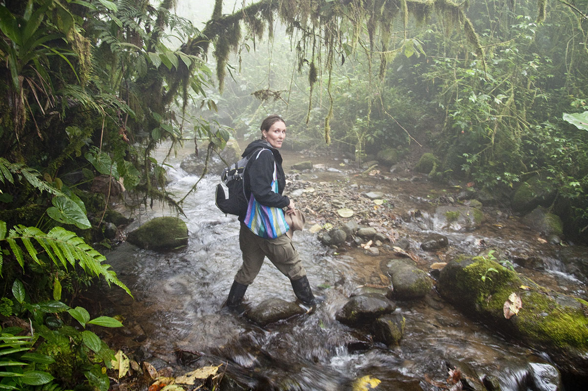 <p>Rady is crossing the mountain sream Esmeraldas up to the biological station Otonga founded by remarkable man and biologist Giovanni Onore.</p>