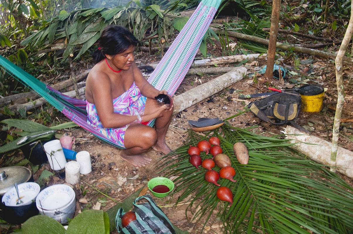 <p>Yekwana Dionysia vyrábí a barví naběračky. Rio Nichare (Sierra Maigualida), Venezuela.</p>