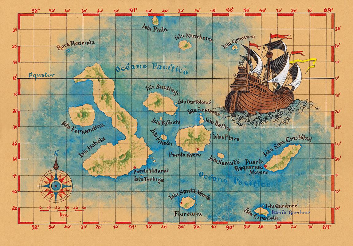 Galapážské ostrovy, mapa (panel).