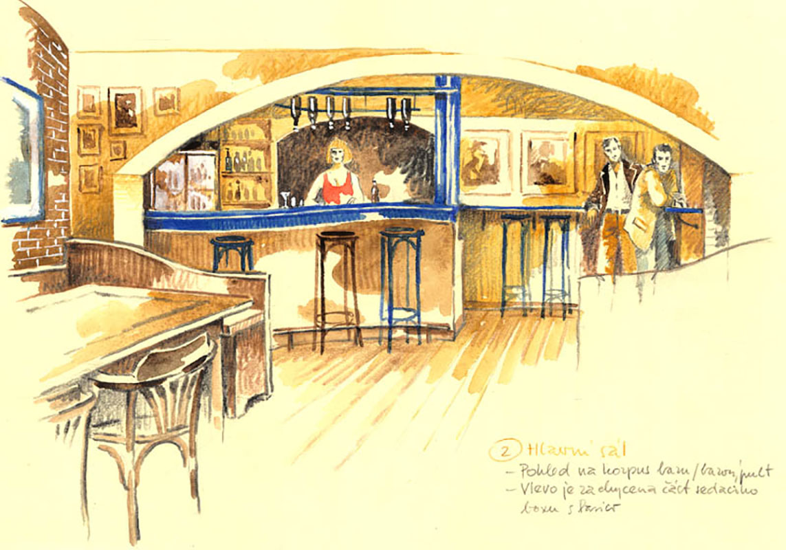 Návrh baru v hudebním sále.